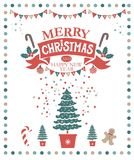 Merry Christmas and Happy New Year illustration. Lettering merry Christmas and a Happy New year on a red ribbon and festive decorations: garland, socks with stock illustration