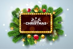 Merry Christmas and Happy New Year Illustration with Light Sign Board and Pine Branch on Light Background. Vector. Holiday Design for Greeting Card, Party royalty free illustration