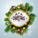 Merry Christmas and Happy New Year Illustration with Light Sign Board and Pine Branch on Light Background. Vector. Holiday Design for Greeting Card, Party stock illustration