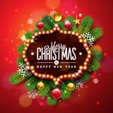 Merry Christmas and Happy New Year Illustration with Light Sign Board and Pine Branch on Red Background. Vector Holiday. Design for Greeting Card, Party stock illustration