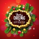 Merry Christmas and Happy New Year Illustration with Light Sign Board and Pine Branch on Red Background. Vector Holiday. Design for Greeting Card, Party royalty free illustration