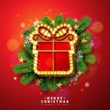 Merry Christmas and Happy New Year Illustration with Light Sign Board and Pine Branch on Red Background. Vector Holiday. Design for Greeting Card, Party vector illustration