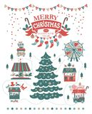 Merry Christmas and Happy New Year illustration. Merry Christmas and Happy new year on amusement park, winter market. In the centre illustration, a large tree Royalty Free Stock Images