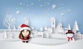 Santa and snow man. Royalty Free Stock Photo