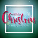 Merry Christmas and Happy New Year Illustration on Shiny Green Background with Typography and Holiday Elements, Vector Royalty Free Stock Photo