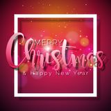 Merry Christmas and Happy New Year Illustration on Shiny Red Background with Typography and Holiday Elements, Vector EPS. 10 design Stock Photo