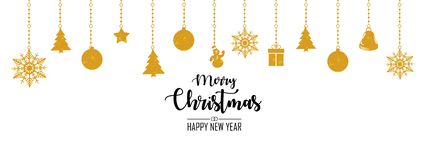 Merry Christmas and Happy New Year illustration stock illustration