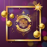 Merry Christmas and Happy New Year Illustration with typography and gold glass balls on purple background. Vector. Holiday design for greeting cards, banner royalty free illustration