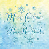 Merry Christmas and Happy New Year illustration on vector triangle background. Royalty Free Stock Images