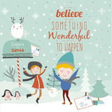 Merry Christmas And Happy New Year illustration Royalty Free Stock Images