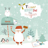 Merry Christmas And Happy New Year illustration Stock Image