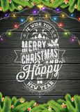 Merry Christmas and Happy New Year Illustration on Vintage Wood Background  Royalty Free Stock Image