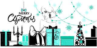 Merry Christmas and Happy New Year illustration. Xmas card with girl, gift boxes, snowflakes and garlands. Christmas background with young woman. Holiday royalty free illustration