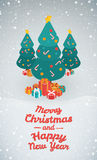 Merry Christmas and Happy New Year illustrations. 3d isometric design vector illustration, eps 10 Royalty Free Stock Images