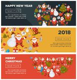 Merry Christmas and Happy New Year 2018 Internet posters with cheerful Santa Claus with bag full of present. S, decorated fir and snowman in tall hat that sings Royalty Free Stock Image