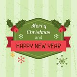 Merry Christmas and Happy New Year invitation card Stock Image