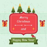 Merry Christmas and Happy New Year invitation card Royalty Free Stock Photography