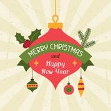 Merry Christmas and Happy New Year invitation card Royalty Free Stock Photos