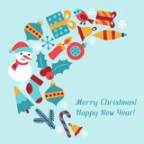 Merry Christmas and Happy New Year invitation card Royalty Free Stock Images