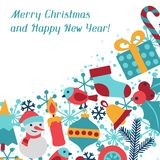Merry Christmas and Happy New Year invitation card Royalty Free Stock Image