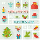 Merry Christmas and Happy New Year invitation card Stock Photos