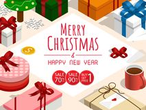 Merry christmas and happy new year sale,isometric copy space gift boxes vector. Merry christmas and happy new year,isometric christmas gift vector royalty free illustration