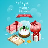 Merry christmas and happy new year,isometric christmas snow globe gift boxes vector stock illustration