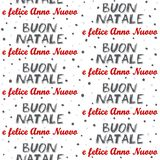 Merry Christmas and Happy New Year in Italian seamless pattern on white Royalty Free Stock Images