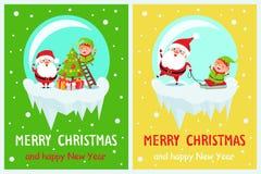 Merry Christmas Joyfulness Vector Illustration. Merry Christmas and happy New Year, joyfulness of winter holidays, Santa and elf decorating tree with balls and Royalty Free Stock Image