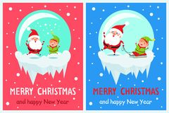 Merry Christmas Jumping Santa Vector Illustration. Merry Christmas and happy New Year, jumping Santa Claus and elf, helper in green costume sitting on sled and Royalty Free Stock Photography