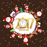 Merry christmas and happy new year 2017 with kids and clock on earth greeting card.  Royalty Free Stock Images