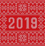 Merry Christmas Happy 2019 New Year knitted background. Merry Christmas and Happy 2019 New Year knitted background, vector illustration royalty free illustration