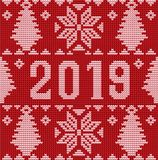 Merry Christmas and Happy 2019 New Year knitted background. Vector illustration vector illustration