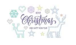 Merry Christmas and Happy New Year knitted calligraphy font decoration for holiday greeting card design. Vector Christmas deer, sn. Owflake and star decoration stock illustration