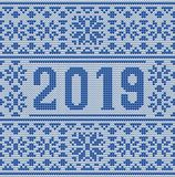 Merry Christmas and Happy 2019 New Year knitted card. Vector illustration vector illustration
