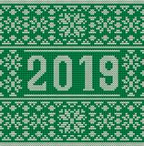 Merry Christmas and Happy 2019 New Year knitted wallpaper. Vector illustration royalty free illustration