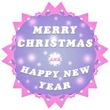 Merry christmas and happy new year label. Christmas blue label with snowflakes on a white background Royalty Free Stock Images
