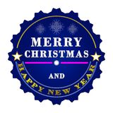 Merry Christmas and Happy New Year label. Christmas blue label with snowflakes on a white background Royalty Free Stock Photo