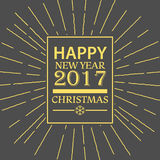 Merry Christmas and Happy New Year.Label Composition With Light Stock Image