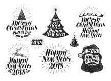 Merry Christmas and Happy New Year, label set. Xmas, holiday icon or logo. Lettering vector illustration Royalty Free Stock Photo
