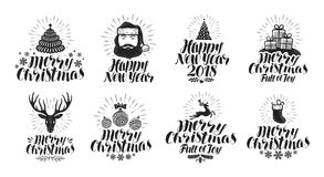 Merry Christmas and Happy New Year, label set. Xmas, holiday icons or logos. Lettering vector illustration Royalty Free Stock Photography
