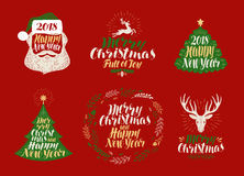 Merry Christmas and Happy New Year, label set. Xmas icons or logos. Lettering, calligraphy vector illustration Stock Images