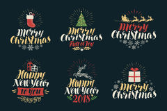 Merry Christmas and Happy New Year, label set. Xmas icons or logos. Lettering vector illustration Stock Images