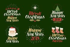 Merry Christmas, Happy New Year, label set. Xmas, yuletide, holiday icon or logo. Lettering, calligraphy vector Royalty Free Stock Photography