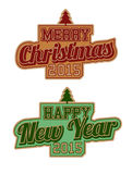 Merry Christmas And Happy New Year. Labels Royalty Free Stock Images