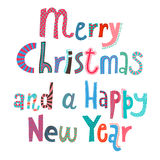 Merry Christmas and a Happy New Year lettering Stock Photo