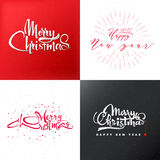 Merry christmas and happy new year 2017 lettering, calligraphy style insignia, labels for any use. Merry christmas and happy new year 2017 lettering and vector illustration