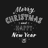 Merry Christmas and happy New Year lettering Stock Images