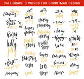 Merry Christmas and Happy New Year 2017 Lettering Design emblems set. New golden and black inscriptions holidays, vector logo, text design. Usable for banners Stock Image