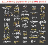 Merry Christmas and Happy New Year 2017 Lettering Design emblems set. New golden inscriptions holidays, vector logo, text design. Usable for banners, greeting Royalty Free Stock Photography